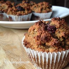 Grain-free, Gluten-free Blackberry Muffins on www.PopularPaleo.com   Light and tasty muffins with a hint of ginger to offset the blackberry. My family loves these!