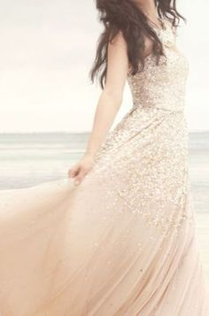 I love glitter again! Alternative wedding dress with gold and blush pink