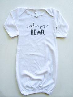 """Sleepy Bear"" White Long Sleeve Infant Gown – LOVED BY HANNAH AND ELI"
