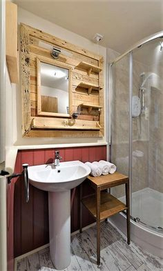 sink mirror ot of pallets with shelves