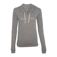 Alternative Apparel 1928 Women's Eco-Jersey Classic Hooded Pullover T-Shirt Eco Grey Small
