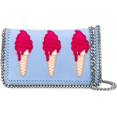 Stella McCartney ice-cream embroidered Surf Falabella bag (€420) ❤ liked on Polyvore featuring bags, handbags, shoulder bags, blue, blue shoulder bag, chain handle handbags, cream handbags, stella mccartney purse and stella mccartney handbags
