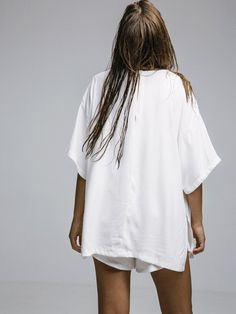 Arthur - Satin Oversized Tshirt Ivory