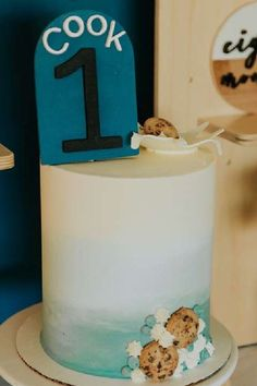 Check out this awesome milk and cookies themed 1st birthday party! The cake is so cute! See more party ideas and share yours at CatchMyParty.com