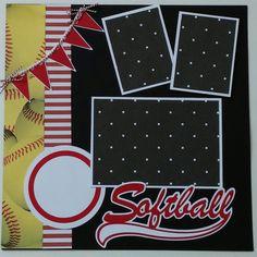 Softball * Sports * Girls premade scrapbook layout page Ohioscrapper Scrapbook Sketches, Scrapbook Page Layouts, Scrapbook Templates, Scrapbooking Ideas, Scrapbook Paper Crafts, Scrapbook Cards, Cruise Scrapbook, Birthday Scrapbook, Dinosaur Toys For Kids