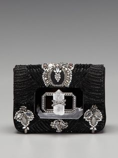Marchesa Handbags Crystal Embroidered Turnlock Clutch