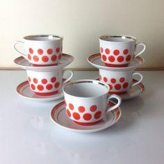 Vintage retro teacups / retro tea set by Bicoestonia on Etsy,