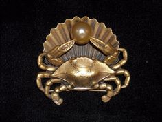 Joseff of Hollywood Shell Pearl and Crab Brooch #JoseffofHollywood