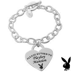Heart Tag Toggle Bracelet Please Return To Playboy Mansion Charm #1 Playmate HTF #Playboy #Traditional