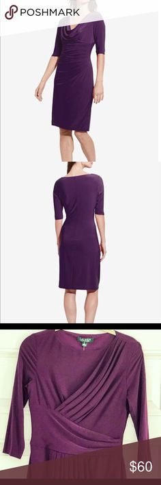 SALE! Ralph Lauren Jersey Matte Dress, sz 4!  NWT! NWT Ralph Lauren Essentials 3/4 Sleeve Jersey Matte Dress, sz 4!  Color is dark mulberry which is a gorgeous purple. Draped high collar neckline (a little higher than in the pic but it's the closest I could find), pleated at the waist, sheath silhouette.  95% polyester, 5% elastane. Lauren Ralph Lauren Dresses Midi