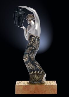 An Art Deco patinated and silvered bronze figure by Pierre Le Faguays, France circa 1920s.