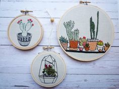 Embroidery Art 'Cacti Collection' 5 inch by CheeseBeforeBedtime