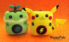 PP mini 'Pika & Twiggy' ,Pokemon inspired Handmade Plush w/pouch perfect for hanging on Backpacks, bags, in the car, Tooth fairy Pillow