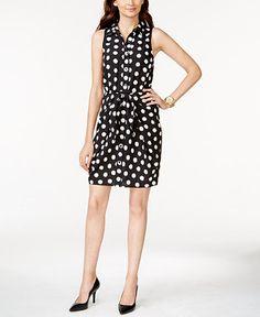 MICHAEL Michael Kors Petite Polka-Dot Belted Shirtdress - Dresses - Women - Macy's