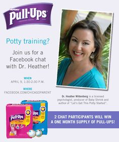 Potty training or about to start? We need questions to ask Dr. Heather during a special Pull-Ups Facebook chat next week. Comment on this pin with your questions!
