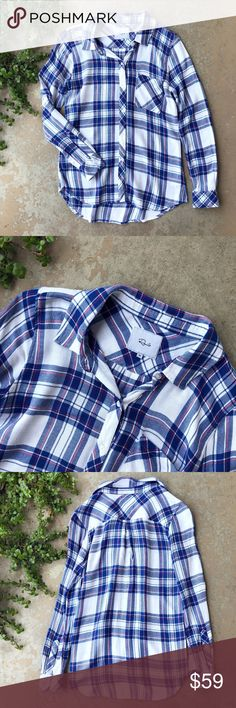 Rails Blue Plaid Soft Button Down Shirt Top Blue and white plaid button down shirt by Rails. Ultra soft and cozy! Size XS and in excellent condition - no flaws! Rails Tops Button Down Shirts