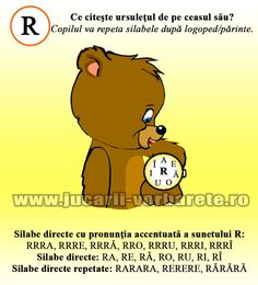 Sunetul R - fise logopedice | Jucarii vorbarete Alphabet Worksheets, Speech Therapy, Winnie The Pooh, Disney Characters, Fictional Characters, Logos, Bebe, Speech Pathology, Speech Language Therapy
