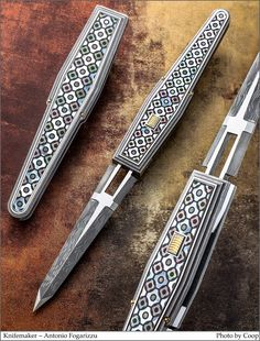 Automatic Knives, Damascus Blade, Knife Art, Metal Engraving, Custom Knives, Knives And Swords, Folding Knives, Ocean City, Supreme
