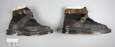 Y: 49/13/1-2. Low-temperature ski boots made by A/S Kolbjorn Knutsen & Co., who supplied a variety of clothing and equipment to the NBSAE.