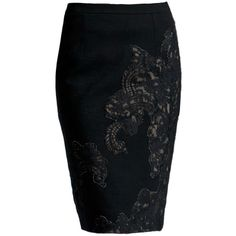 Andrew Gn Black Embroidery Pencil Skirt ($1,595) ❤ liked on Polyvore