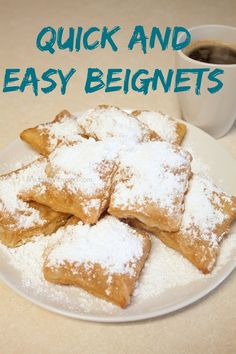 Quick And Easy Beignets is part of Beignet recipe - Quick And Easy Beignets With Peanut, Oil, Frozen Puff Pastry, Powder Sugar Donut Recipes, Pastry Recipes, Cookie Recipes, Benyas Recipe, Churros, Yummy Food, Tasty, French Pastries, Recipes