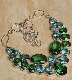 "'Huge Brilliant Handmade Topaz Necklace 19""' is going up for auction at 10pm Mon, Aug 20 with a starting bid of $25."
