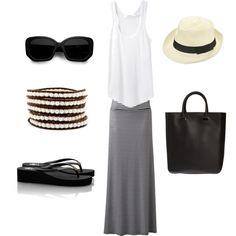 White tank, black accessories & black / white stripe skirt
