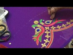 Peacock Embroidery work on Pattu blouse - hnad Embroidery work - YouTube