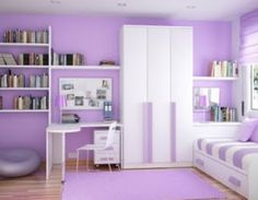 purple girls bedroom featuring white bedroom set | home savannahs