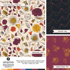 Little Inky Bees - surface pattern collection by Adriana Hernandez (Adriprints)