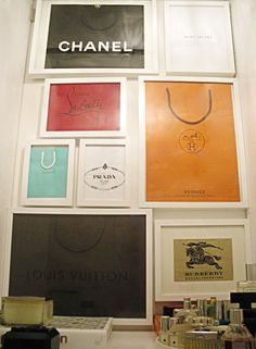 framed shopping bags -- always love it when I see it, need to try it!