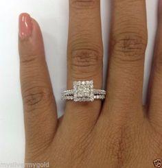 Diamond engagement rings, Diamond rings, pre set,Bridal Ring Set by mysilvermygold