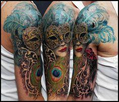 Venetian Mask Tattoo Venetian mask with feathers
