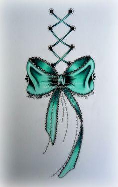 bow tattoo by Tiphanie.B France