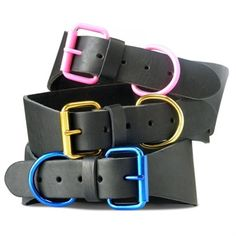 Platinum Pets - Black Genuine Leather Big Dog Collars (Plain) available at www.ZoePetSupply.com
