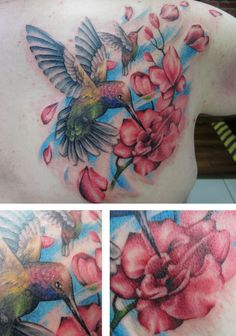 Hummingbird tattoo and flower tattoo by Alexis Thomson @ Adrenaline Vancity in Vancouver