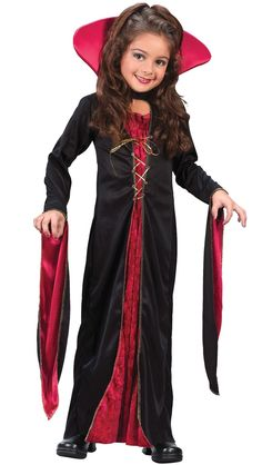 Our Victorian Vampiress Girl's Costume is a fun costume for a Halloween trick-or-treating adventure. The Victorian Vampiress Costume includes, gown and vampire collar. This Victorian vampire costume is available in various Child sizes. Halloween Party Kostüm, Classic Halloween Costumes, Halloween Fancy Dress, Halloween Costumes For Girls, Girl Costumes, Halloween Kids, Children Costumes, Animal Costumes, Halloween Inspo