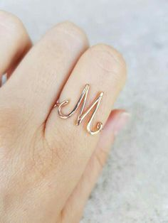 Initial Letter M Ring M Rose Gold Initial Ring Rose Gold M Ring Personalized initial Letter Ring Wire Ring Custom Rose Gold M Ring D&D Infinity Necklace, Infinity Charm, Dainty Necklace, Gold Necklaces, Cute Jewelry, Etsy Jewelry, Handmade Jewelry, Jewelry Stores, Wire Rings