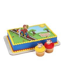 4 piece cake topper set which includes Curious George riding on a train. http://www.luvpersonalized.com/curious-george-on-train-cake-topper-decoration/