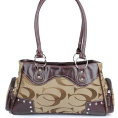 "Click Here and Buy it On Amazon.com $35.99 Amazon.com: "" C C "" Signature Jacquard Cleto Designer Inspired Round Rivet Studded Classic Fashion Tote Satchel Shoulder Handbag Purse in Khaki Tan: Clothing"