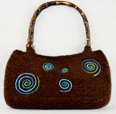 Felted Purse Brown Swirl Bag by WHATKnotsBoutique on Etsy