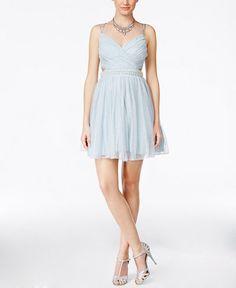 Speechless Juniors' Embellished Glitter Cutout Party Dress