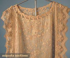 HANDMADE LACE DRESS, 1920s Go Back Lot: 386 March/April 2005 Vintage Clothing & Textile Auction New Hope, PA Ecru cotton dress w/ hand embroidery, needle lace & net lace