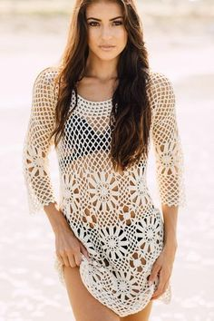Keep it cool with this hot Boho Crochet Tunic. This sexy fishnet crochet with a casual cotton vibe pairs great with your one-piece, bikini, or tankini swimsuit.