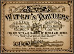 Apothecary Label Halloween Witch Potion Vintage Digital Download Collage Sheet…