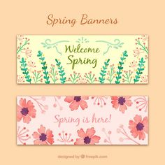 Watercolro spring banners set  Free Vector