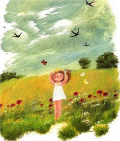 Happy Nature Girl Art by Siegfried Linke Art And Illustration, Illustrations And Posters, Naive Art, Whimsical Art, Cute Art, Art Girl, Painting & Drawing, Book Art, Watercolor Paintings