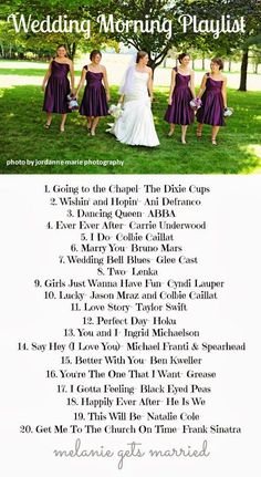 Wedding Morning Playlist, which ones are you going to play? ;) #CuteWeddingIdeas