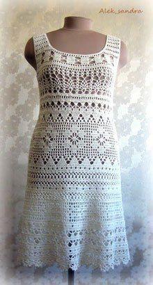 Ажурное белое платье связано в технике филейного вязания. Платье авторское, здесь представлено только как идея, предложено несколько схем узоров. Автор этого изделия: Alek_sandra из Клуба Осинки…
