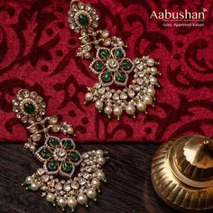 Gorgeous Gold Pearl Earrings From Aabushan Jewellery ~ South India Jewels Gold Jhumka Earrings, Indian Jewelry Earrings, Jewelry Design Earrings, Gold Earrings Designs, Gold Jewellery Design, Necklace Designs, Pearl Jewelry, Jewelry Sets, Gold Jewelry